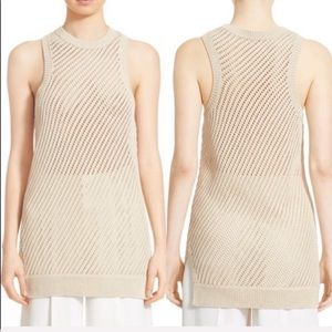 • Vince.• Diagonal Mesh Cotton Tunic Sweater Cream